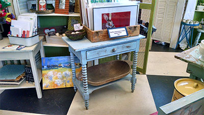 NS twig blue end table